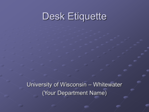 Powerpoint presention about Front Desk Etiquette