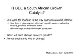 Is BEE a South African Growth Catalyst? (Or