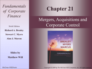 Chapter 21: Mergers, Acquisitions, and Corporate Control