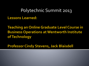 Lessons Learned: Teaching an Online Graduate Level Course in