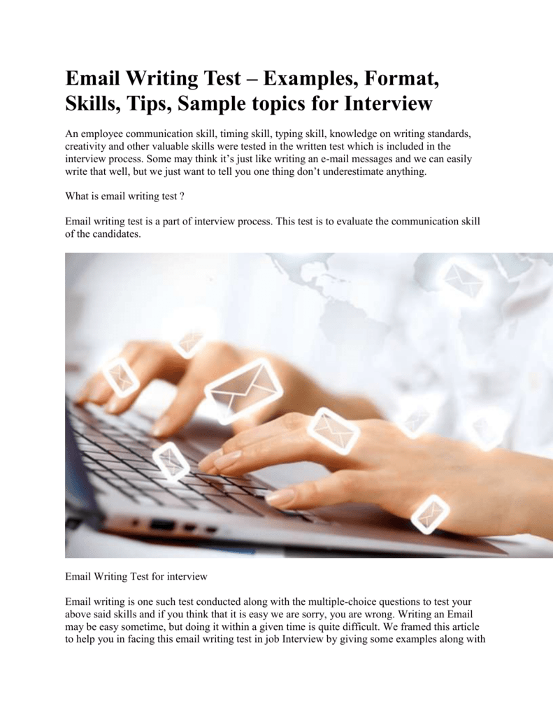 Complete Details about Email Writing& written test