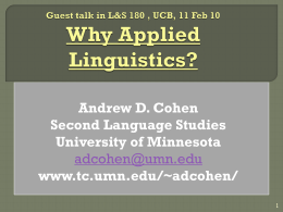 Why Applied Linguistics?