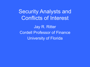 Security Analysts and Conflicts of Interest