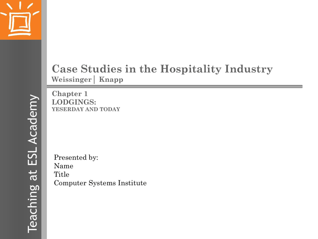 File - Case Studies in the Hospitality Industry