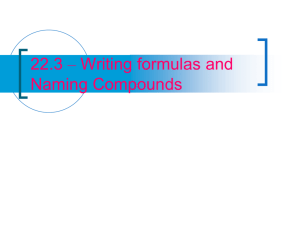 22.3 – Writing formulas and Naming Compounds