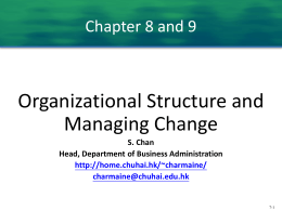 Organizational structure and Managing change