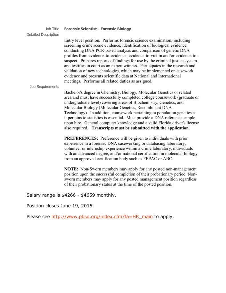 Job Title Forensic Scientist Forensic Biology Detailed Description