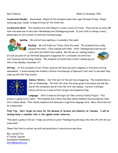 Dear Families, Week of November 25th Accelerated Reader: Good