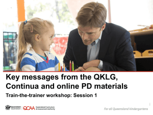Key messages from the QKLG, continua and online PD materials