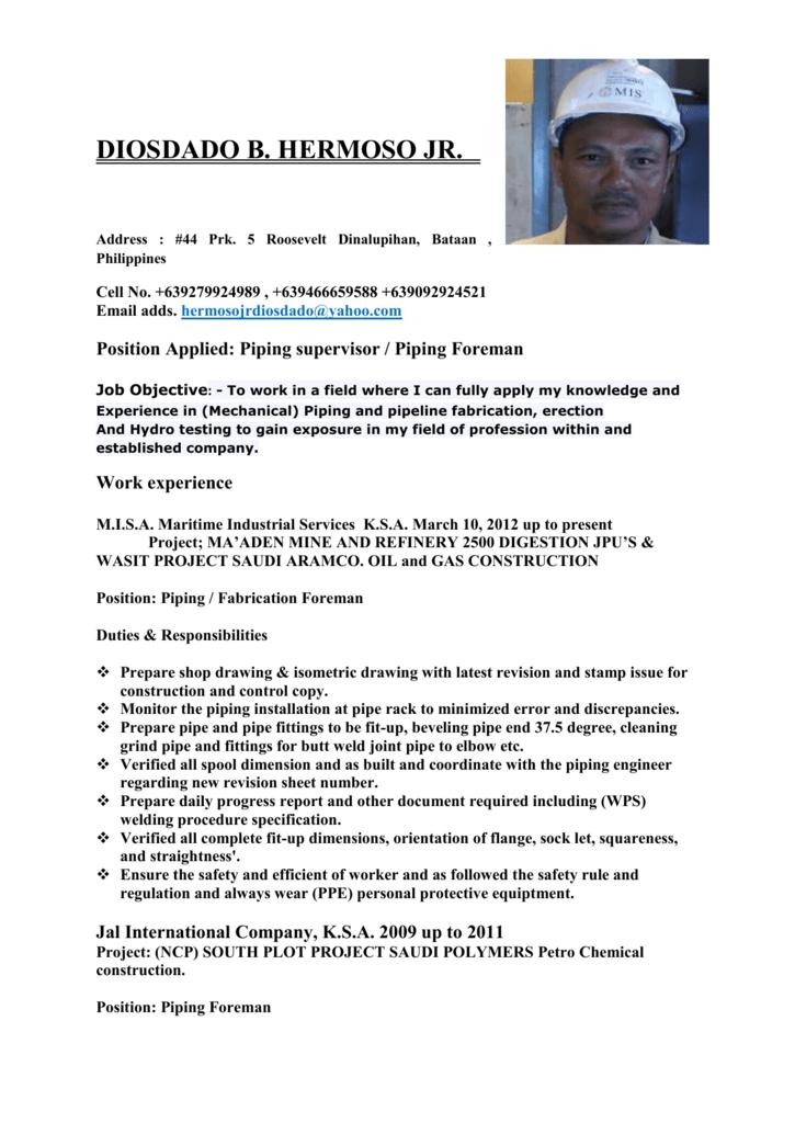 Piping Foreman - TUEM International Manpower Corp