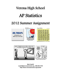 VHS AP Statistics Summer Assignment—2011-12