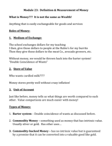 Module 23: Definition & Measurement of Money What is Money???