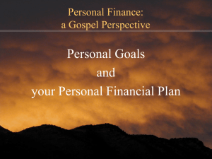 Your Personal Financial Plan and Goals