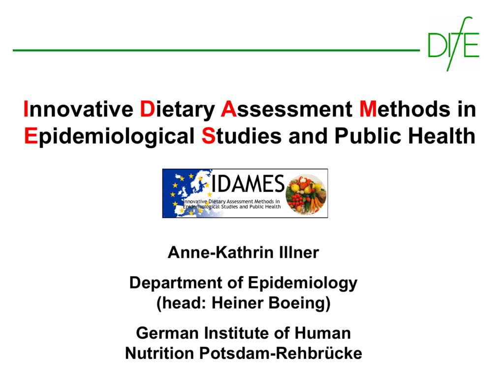 Basic dietary assessment methods