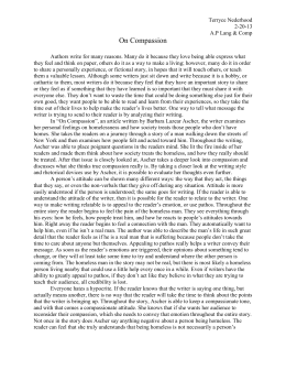 Barbara Lazear Ascher Rhetorical Analysis Essay Sample