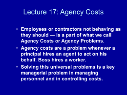 Agency Costs - UTA Economics