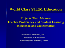World Class STEM Education - School of Education