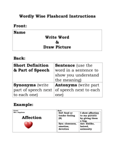 Wordly Wise Flashcard Instructions Front