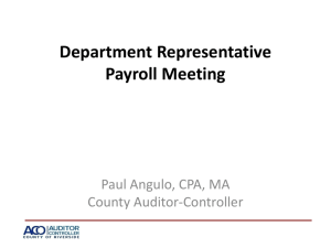 Department Rep Meeting - Auditor
