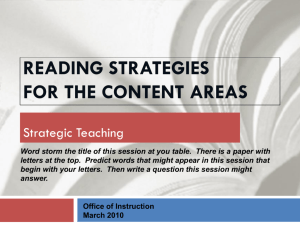 Reading Strategies in the Content Areas