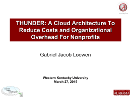 Lecture 11 - THUNDER: A Cloud Architecture To Reduce Costs and