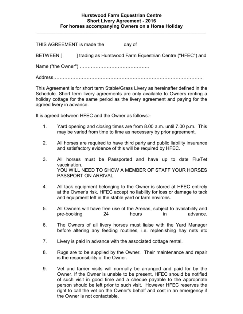 2016 Short Term Or Holiday Livery Agreement