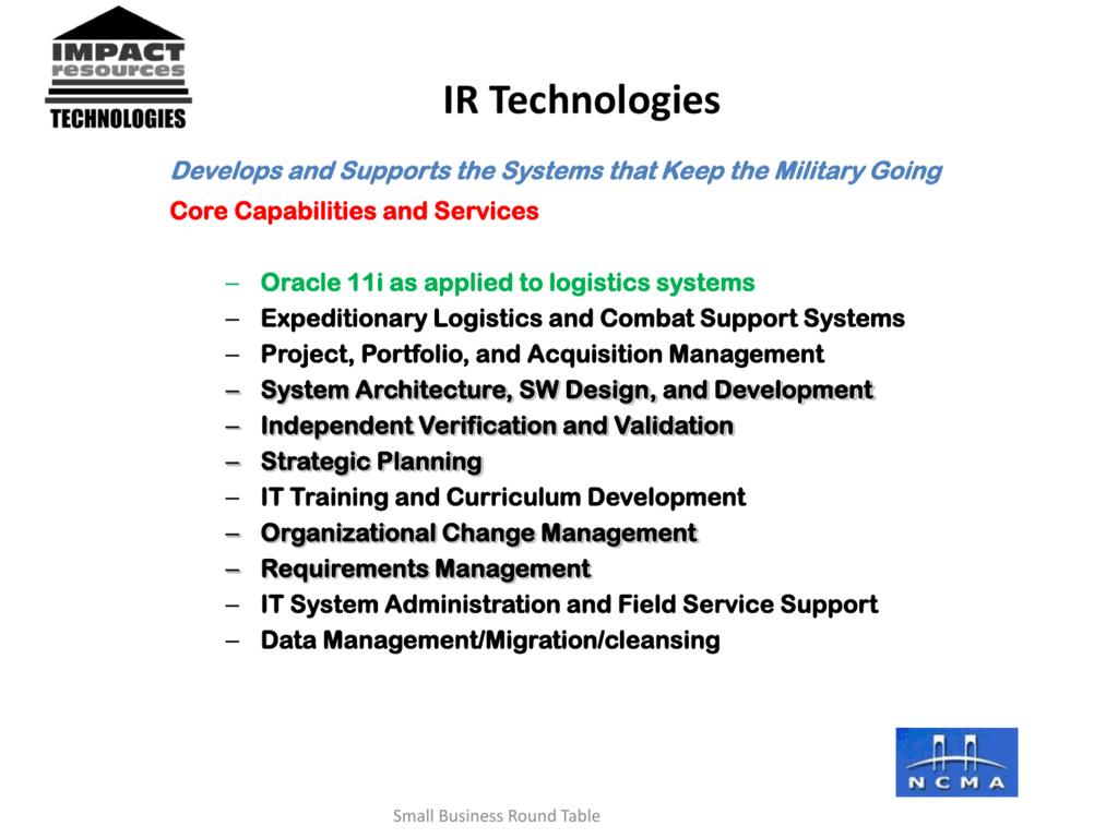 IR-Tech – SBRT Small Business Company Profile