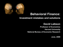Behavioral Finance - Harvard University