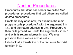 Nested Procedures