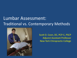 Assessment of the Lumbar Spine