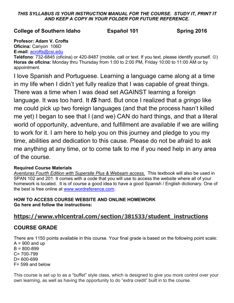 Spanish 101 Spring 2016 Hybrid course syllabus