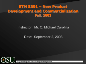 ETM 5391 – New Product Development and Commercialization