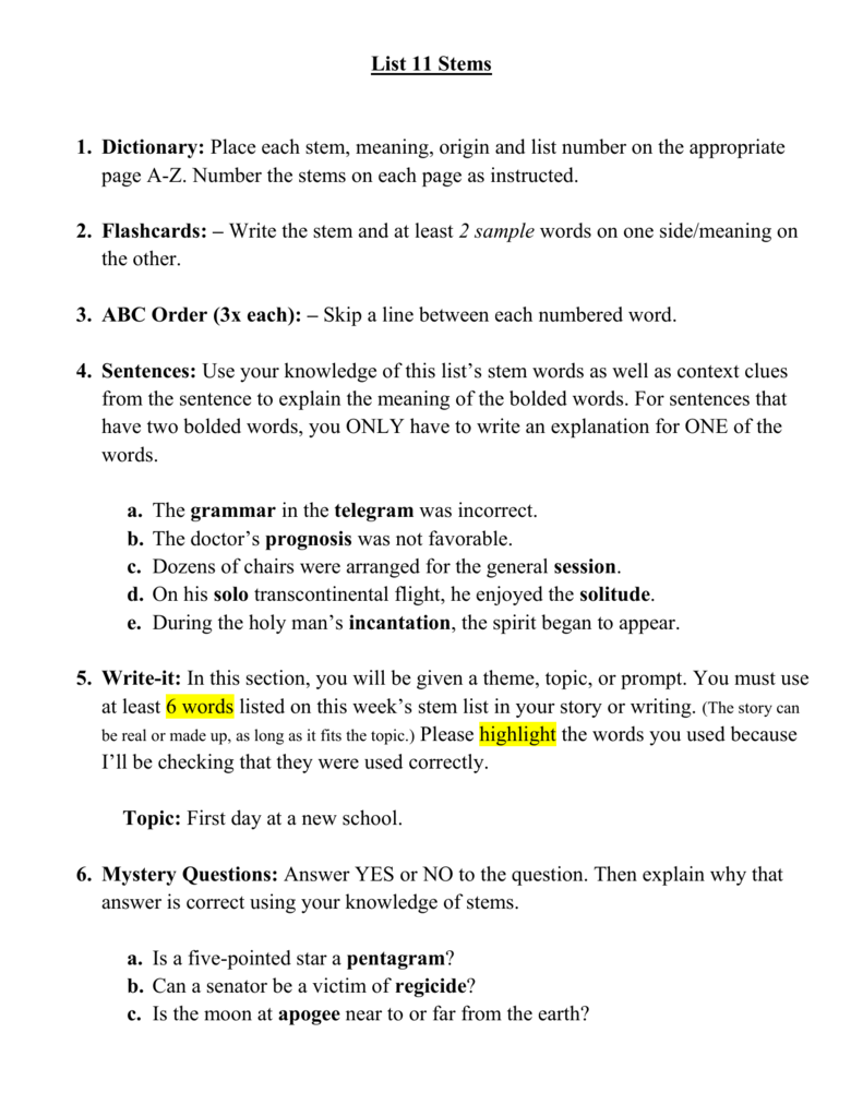 Stem List 11: Homework Nights