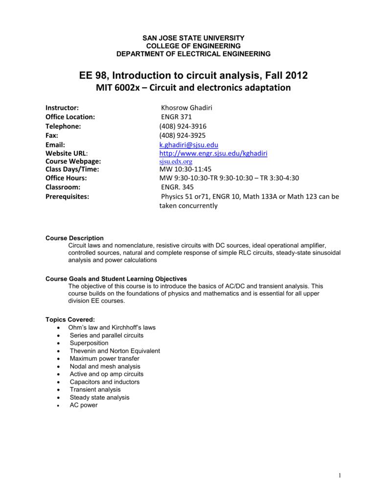 Gs Ee98 02 San Jose State University Electrical Engineering Tutorials Series Rlc Circuits