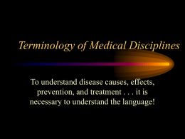 Terminology of Medical Disiplines