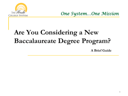Are You Considering a New Baccalaureate Degree Program?