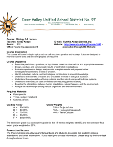 Biology 1-2 Honors Syllabus - Deer Valley Unified School District