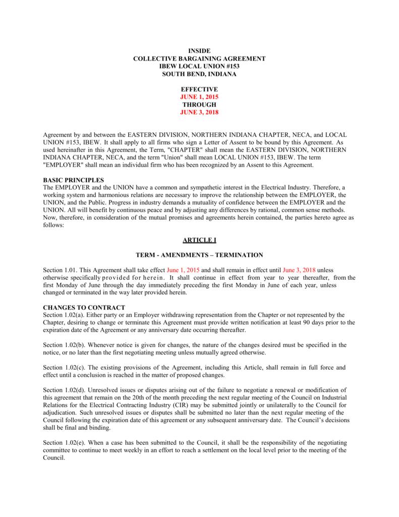 Collective Bargaining Agreement Ibew Local Union 153