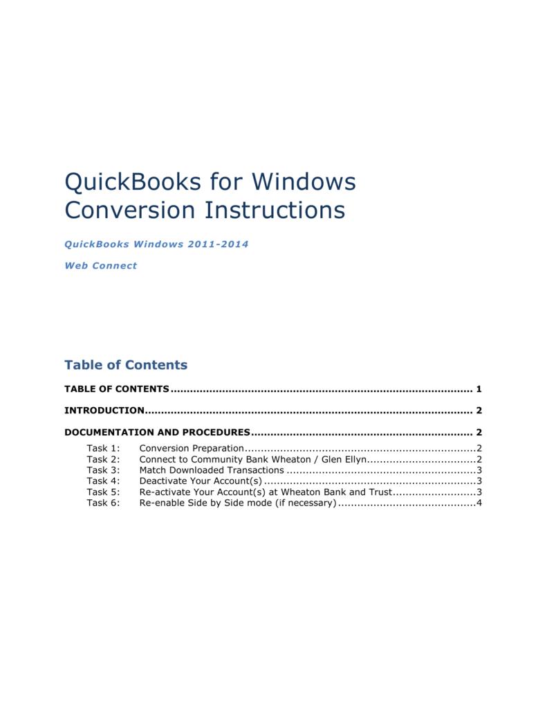 Quickbooks Web Connect (Windows)