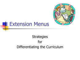 Extension Menus - Dare to Differentiate