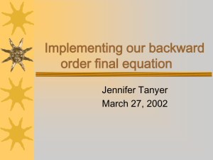 Implementing our backward order final equation