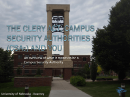Clery Presentation - University of Nebraska at Kearney