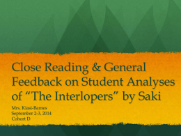 chidozie duru essay compare and contrast the interlopers and analyzing the interlopers by saki