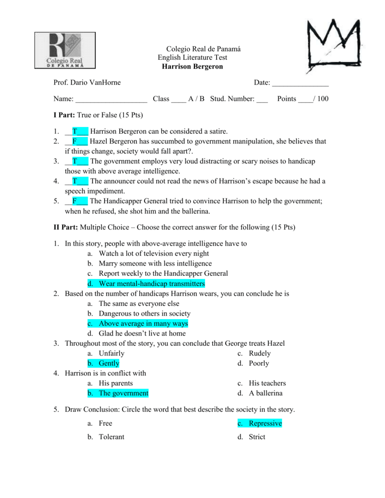Study guide for harrison bergeron answers