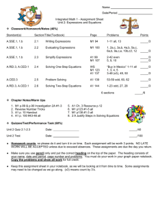Math 1 Unit 2 Assignment Sheet 2015