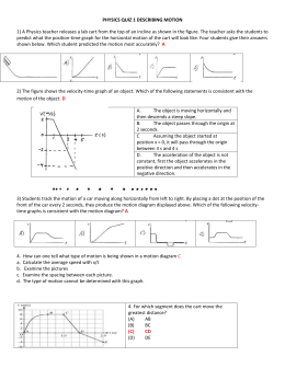 PHYSICS QUIZ 1 DESCRIBING MOTION ANSWERS
