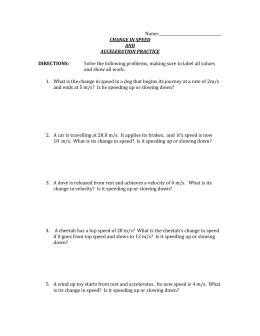 Acceleration Worksheet
