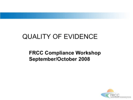 Fall_Workshop_Quality of Evidence revised 091208