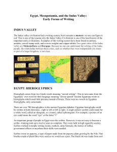 Egypt, Mesopotamia, and the Indus Valley: Early Forms of Writing