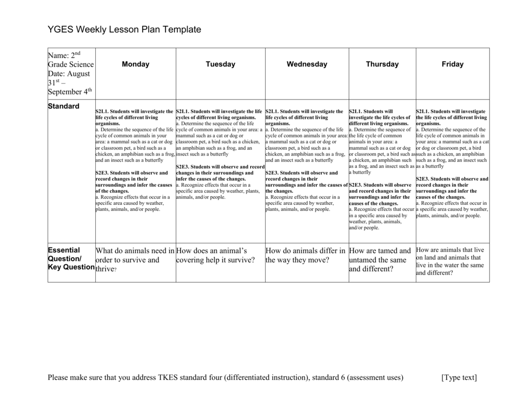 YGES Weekly Lesson Plan Template Name: 2nd Grade Science